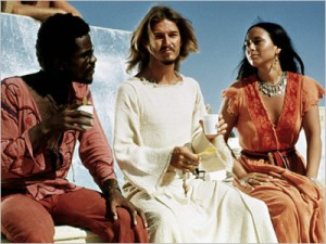 Judas, Jesus, and Mary Magdalene relaxing on set