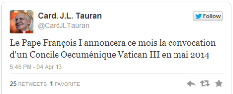 Screenshot of the tweet from Cardinal Tauran's feed