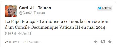 Screenshot of the tweet from Cardinal Tauran's feed