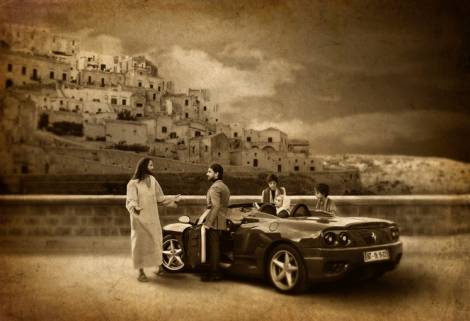 christ and rich young man with hot car