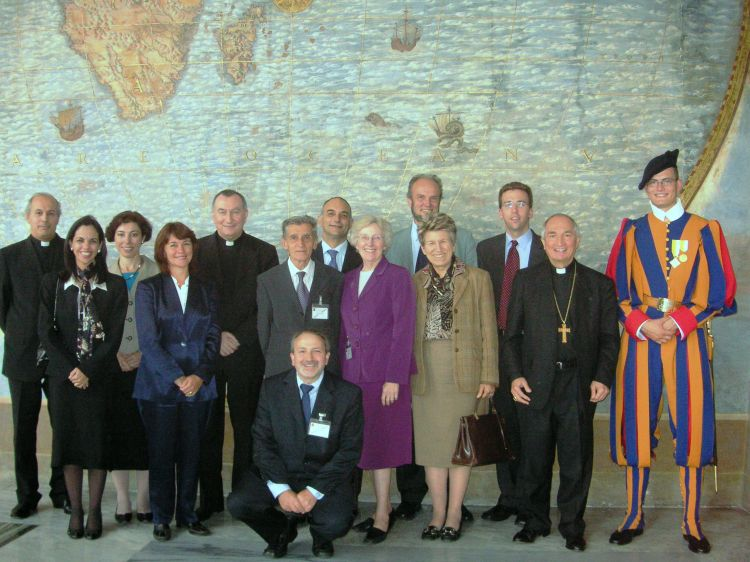 Planning committee of the Forum of Catholic NGOs. Parolin at the center with leaders from different types of Catholic organizations.