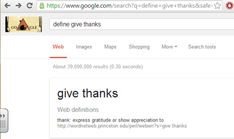 Dictionary give thanks
