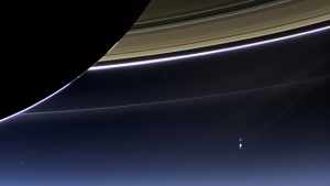 Image of the (tiny) Earth recently taken by NASA's Cassini spacecraft.