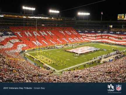 "USAA, ""The Official Military Appreciation Sponsor of the NFL"" - Not joking."