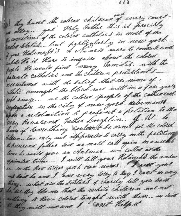 Harriet Thompson to Pope Pius IX, 1853, Page 3 Image (c) 2014, University of Notre Dame Archives