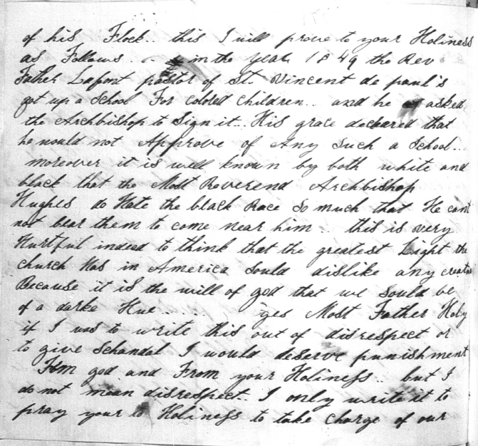 Harriet Thompson to Pope Pius IX, 1853, Page 5 Image (c) 2014, University of Notre Dame Archives