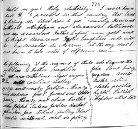 Harriet Thompson to Pope Pius IX, 1853, Page 6 Image (c) 2014, University of Notre Dame Archives