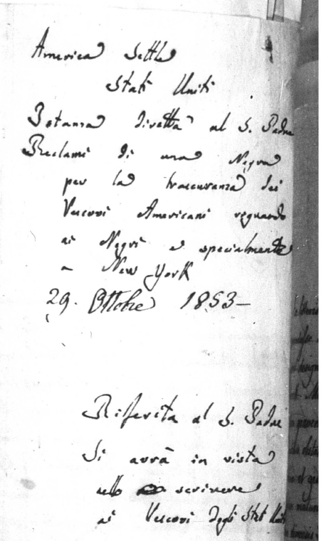 Note forwarding the letter to the Pope: Harriet Thompson to Pope Pius IX, 1853 Image (c) 2014, University of Notre Dame Archives