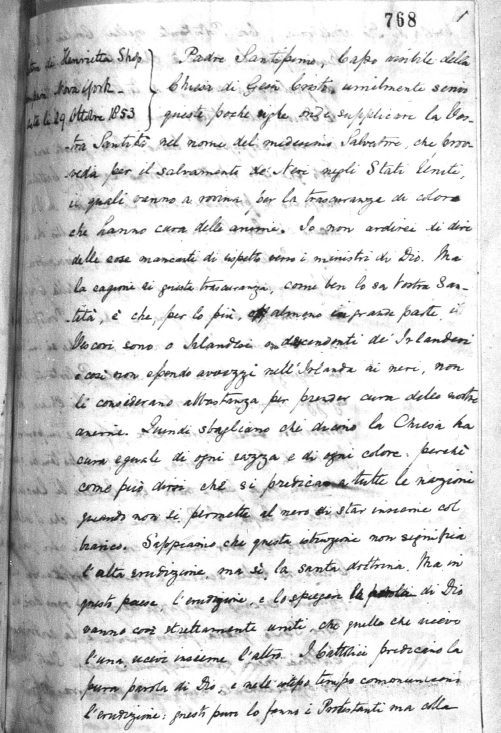Italian Translation of Harriet Thompson to Pope Pius IX, 1853 Image (c) 2014, University of Notre Dame Archives