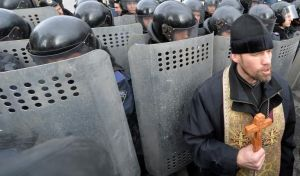 Ukrainian Greek Catholic Priest at the Protests