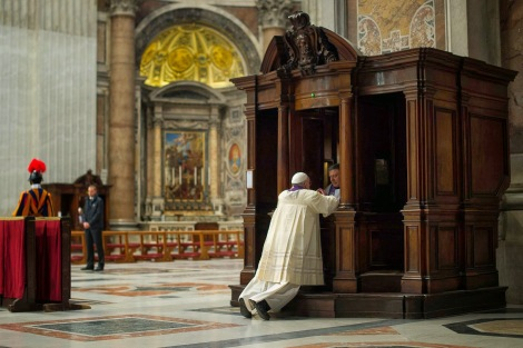 Pope Francis Receiving the Sacrament of Reconciliation