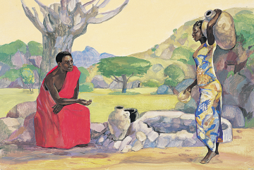 Jesus and the Samaritan Woman, by Jesus Mafa