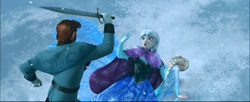 Anna saves Elsa on the Ice