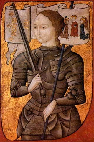 Jeanne d'Arc, c. 1485.  The earliest known painting of St. Joan. Centre Historique des Archives Nationales, Paris, AE II 2490)