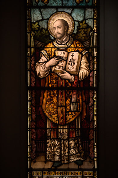 St. Ignatius of Loyola; stained glass window in Georgetown University's Dahlgren Chapel of the Savred Heart (http://www.georgetown.edu/story/saint-ignatius-loyola-mass.html)