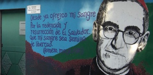 Mural of Msgr. Oscar Romero, martyred Archbishop of San Salvador.