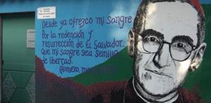 Mural of Msgr. Oscar Romero, martyred Archbishop of San Salvador.