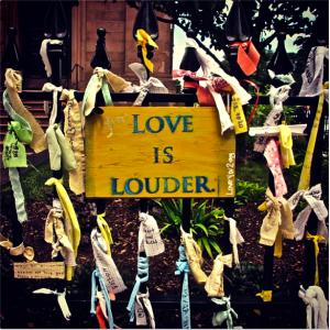 Image of the Boston Marathon Bombing Memorial on Arlington Street in Boston