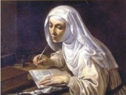 Catherine of Siena writing. From: http://commons.wikimedia.org/wiki/File:Catherine_of_Siena_writing.jpg