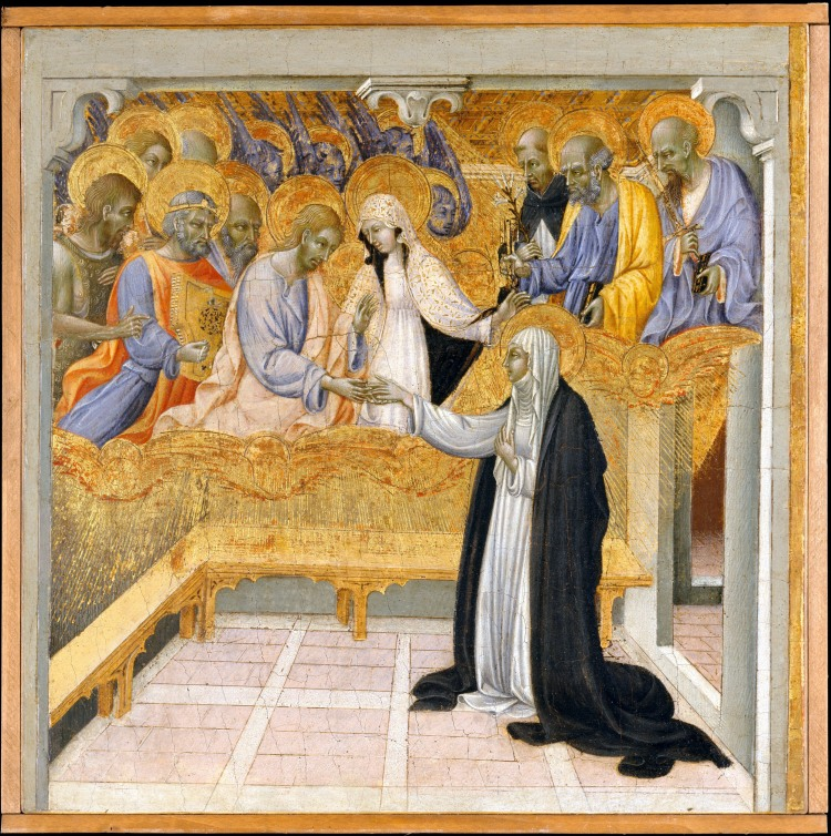 Catherine's Mystical Marriage to Christ. From: http://commons.wikimedia.org/wiki/File:Giovanni_di_Paolo_The_Mystic_Marriage_of_Saint_Catherine_of_Siena,.jpg