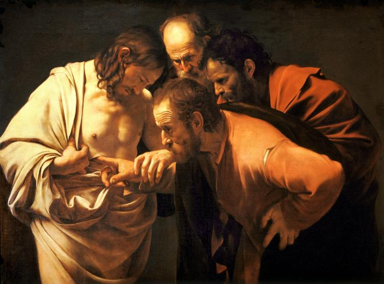 "Caravaggio , ""The Incredulity of Saint Thomas."" 1601-1602"