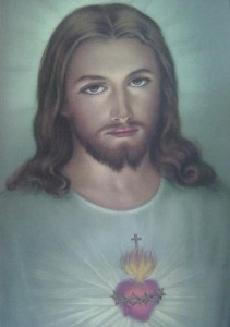 A traditional image of the Sacred Heart which my grandfather owned. (Source: http://holyrosarysite.com/wp-content/uploads/2012/07/jesusimage1.jpg)
