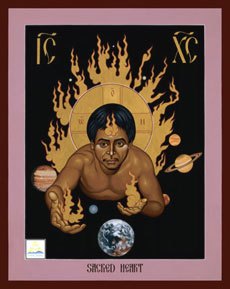 Icon of the Sacred Heart by Robert Lentz (Source: http://www.spiritualityandpractice.com/books/features/view/10906)