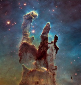 The Eagle Nebula, also known as The Pillars of Creation, as seen from the Hubble Space Telescope http://hubblesite.org/newscenter/archive/releases/2015/01/image/c/