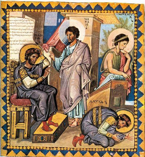 Nathan reproaches David, David repents. (Paris Psalter folio, 136v)