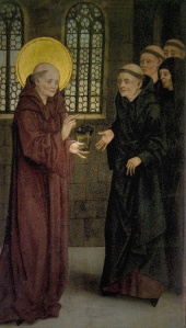 St. Benedict narrowly averts his own death by poisoning, thanks to a well-timed sign of the cross (source: http://procopius.webs.com/St%20Benedict_of_Nursia_and_the_cup_of_poison.jpg)