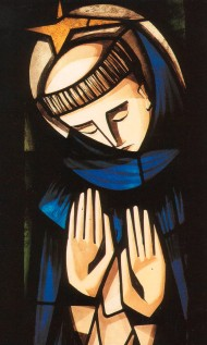 An image of St. Dominic in stained glass found at his home in Torre at his home in Caleruega, Spain. http://idymop.org/en/index.php?option=com_content&view=article&id=51&Itemid=60