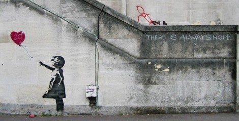 "Photo of Banksy ""Girl and Heart Balloon"" in London. Photo Taken by Dominic Robinson."