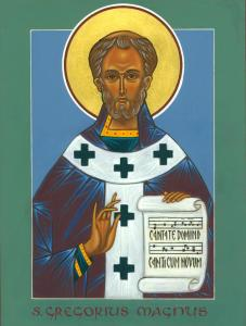 Icon by Daniel Nichols, from his blog https://caelumetterra.wordpress.com/2012/05/09/a-new-icon-st-gregory-the-great/