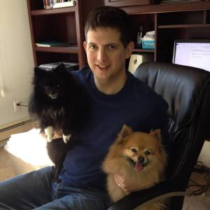Matt Shadle with adorable dogs