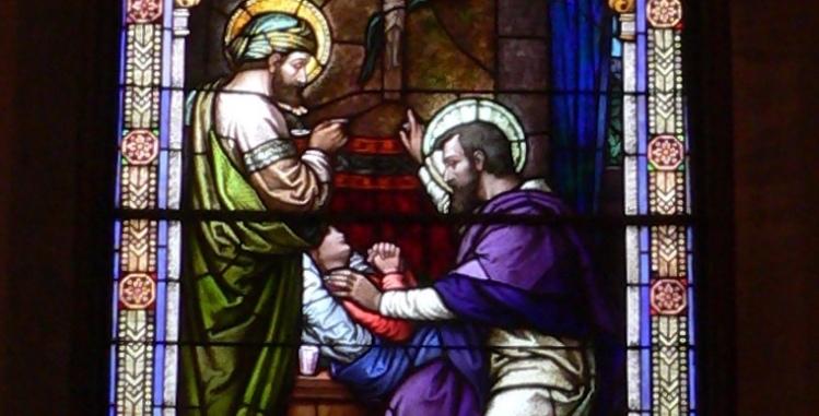 Window in nave of St. Bonaventure's Church in Raeville, Nebraska.
