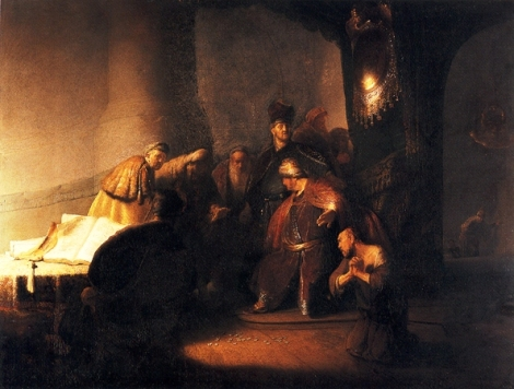 Judas returns the silver pieces, by Rembrandt (1628).