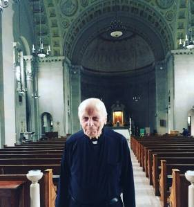 Francis Sullivan, SJ, in the chapel where he took final vows in 1955.