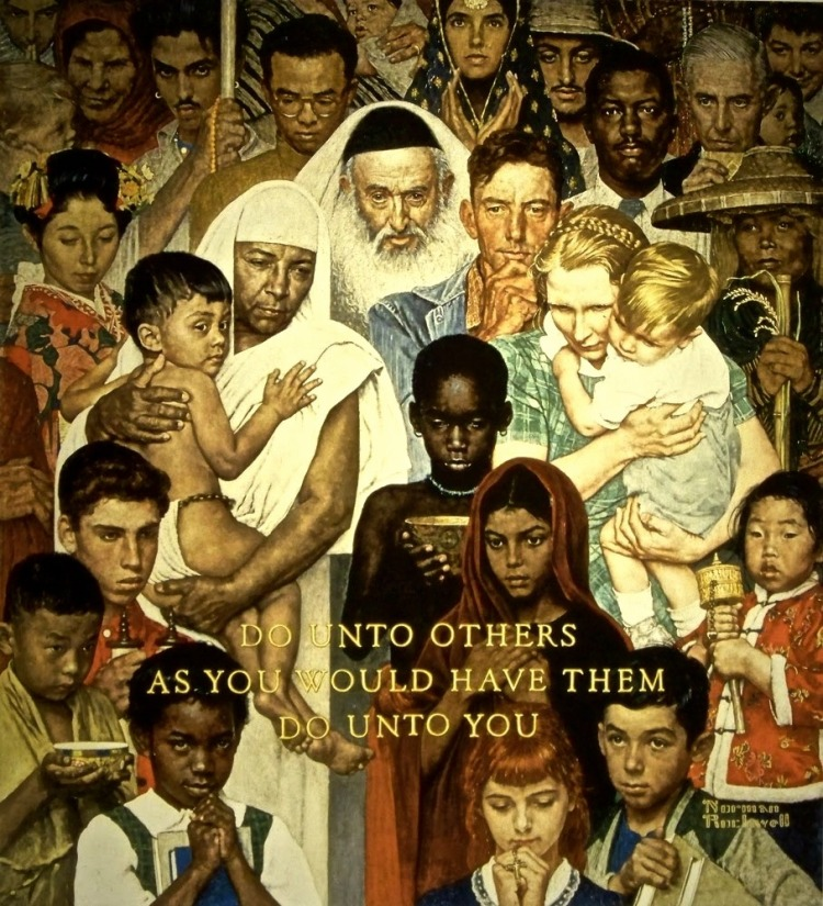 """""""The Golden Rule"""" [Norman Rockwell, 1961]"""