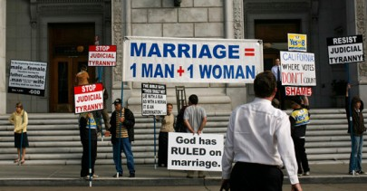 Supporters of Proposition 8 ban on gay marriage protest outside the California Supreme Court in San Francisco, California before a hearing on the initiative