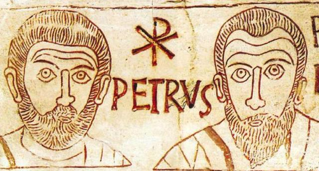 Peter and Paul, depicted in a 4th century etching.