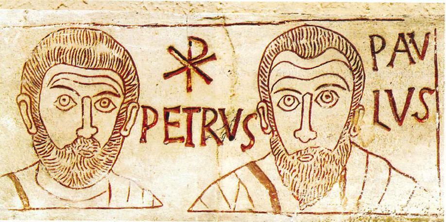 Saints Peter and Paul, from an etching in a catacombe.